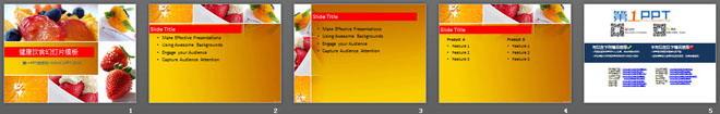 健康饮食主题的草莓水果沙拉PPT模板下载