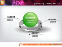 绿色3D立体透明水晶风格的幻灯片图表素材下载