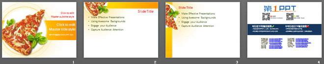 西餐披萨背景的餐饮美食幻灯片模板下载