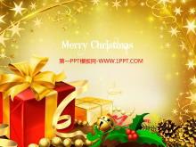 金色圣诞礼物背景的圣诞节幻灯片模板下载