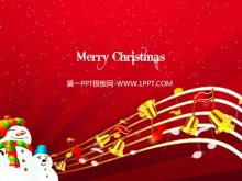 欢快的五线谱音符雪人背景的圣诞节幻灯片模板下载