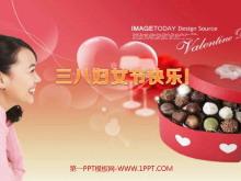 女人玫瑰巧克力爱心背景的三八妇女节PPT模板