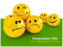 可爱3d圆球可爱表情背景的卡通幻灯片模板