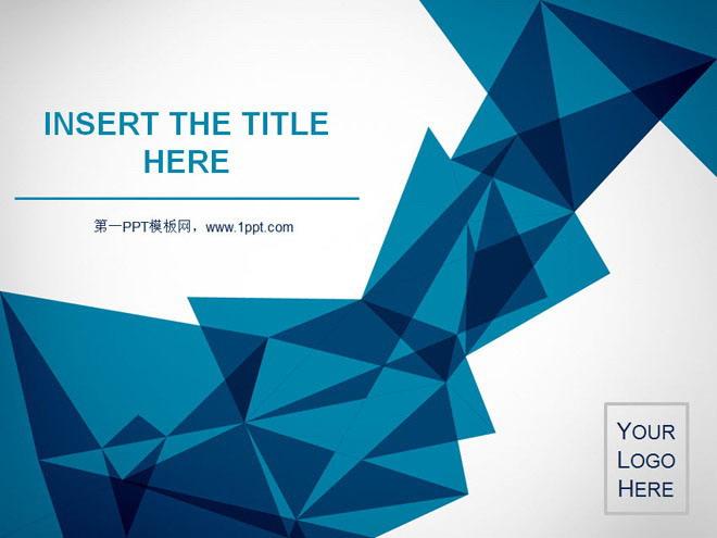 國外藍色折紙背景藝術設計powerpoint模板 - 第一ppt