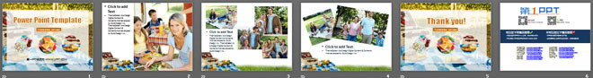 国外家庭户外旅游野炊聚餐PPT模板