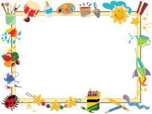 彩色卡通绘画工具背景的幻灯片边框背景图片