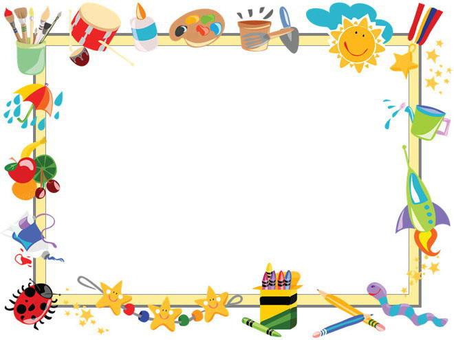 彩色卡通绘画工具背景的幻灯片边框背景图片图片
