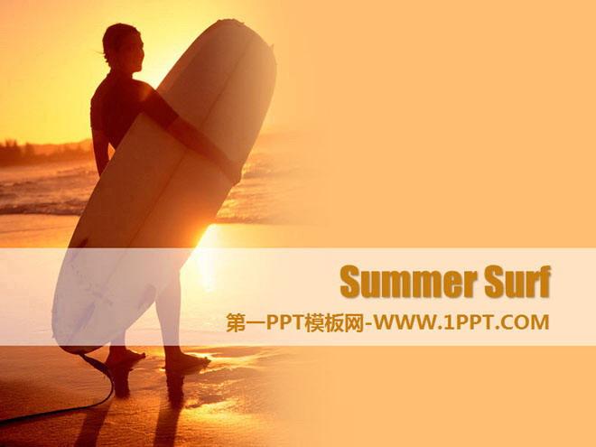 金色沙滩背景的夏日冲浪幻灯片模板