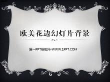 �W美�L格黑色花�背景的PPT�框素材