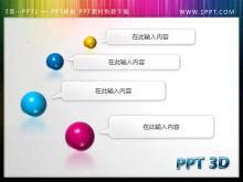 精美动态彩色3D小球背景的PPT目录模板