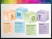 SWOT背景的3D盒子幻�羝�文本框素材