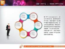 六个圆球环绕的循环关系PPT图表