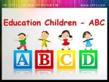 儿童英语字母ABC背景的PPT小插图素材