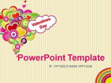 时尚插画爱心背景的Valentine's Day幻灯片模板