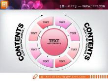 粉色水晶风格PPT图表模板打包下载