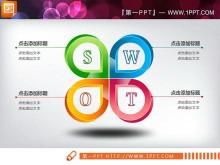 5张精美立体的SWOT并列关系PPT图表
