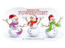三个可爱的雪人背景的圣诞节PPT模板