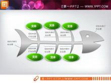 3D立体的鱼骨结构PowerPoint图表下载