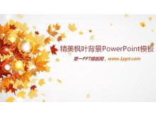 金黄色枫叶背景的艺术PPT模板下载