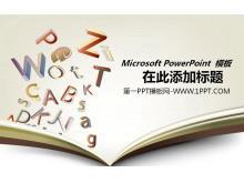 字母课本背景的教育学习PPT模板