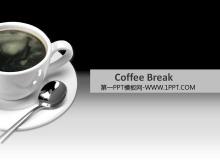 极具小资情调的咖啡杯背景商务餐饮PPT模板