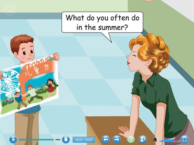 英语课件 人教版五年级下册英语 《my favourite season》课文朗读