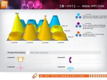 国外3D立体柱状图锥形图PPT图表下载