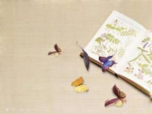 两张淡雅蝴蝶背景的PPT背景图片