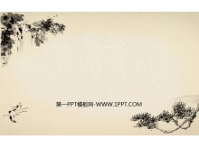 水墨古松飞鹤瀑布背景的中国风古典明升M88.com