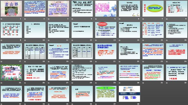 《老山界》PPT课件4 学习目标 1、理解课文的思想内容,热爱长征的革命传统 2、理解一些词语的含义,赏析精彩的语段 教学重点难点 1、重点:学习按时间变化和地点转移记叙事件、安排层次的方法 2、难点:理解生动描写对表达中心的作用 ... ... ... 写作背景 二万五千里长征,历时一年,震惊中外。英勇的红军战士克服了重重困难,越过了万水千山,胜利到达陕北。红军翻过的第一座难走的山就是老山界。这座山高三十里,悬崖峭壁,十分险峻,可我们的红军战士却勇敢地翻过去了。 惊慌:惊慌,害怕慌张。惶,恐慌。 呜咽