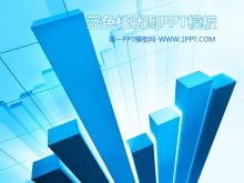 蓝色立体统计图背景的财务PPT模板