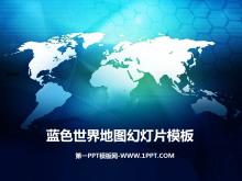 蓝色世界地图背景商务幻灯片模板下载