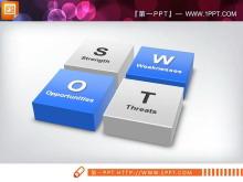 立体四方块并列关系SWOT幻灯片图表