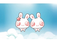 两只可爱的卡通小兔子PPT背景图片
