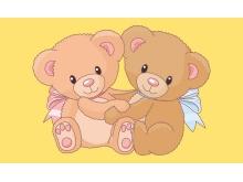 两只可爱的小熊卡通PPT背景图片