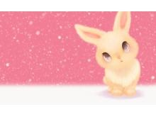 粉色可爱的小兔子PPT背景图片