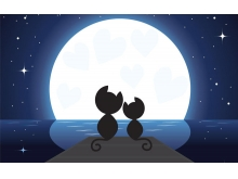 月光下的两只小猫必发88背景图片