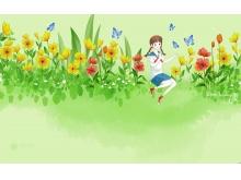 夏天花丛中嬉戏蝴蝶的女孩PPT背景图片