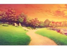 唯美油画风格的森林PPT背景图片