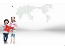 两个手拿宣传材料的小朋友PPT背景图片