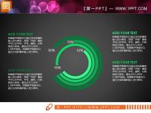 11张现代简洁绿色扁平化PPT图表下载