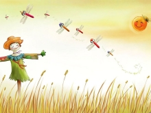 麦田里观看蜻蜓的稻草人卡通PPT背景图片
