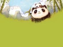 绿色竹林里的大熊猫和小熊猫PPT背景图片