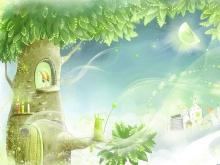 月光下的月亮树与精灵唯美PPT背景图片