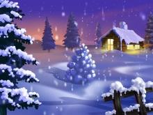 雪地里的小木屋PPT背景图片
