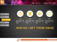 黑色背景黄色PPT图表整套下载
