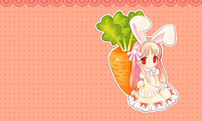 粉色兔公主与萝卜卡通ppt背景图片