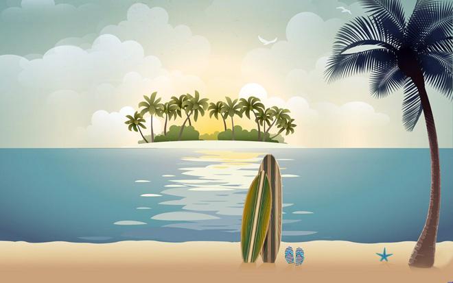 自然风景ppt背景_海滩椰树自然风景PPT背景图片 - 第一PPT