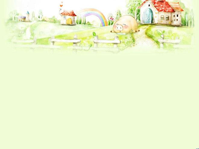 第一PPT模板网提供幻灯片背景图片免费下载;-栅栏里的可爱小猪