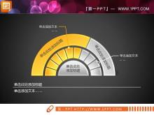 黄色立体水晶风格PPT饼状图图表素材下载